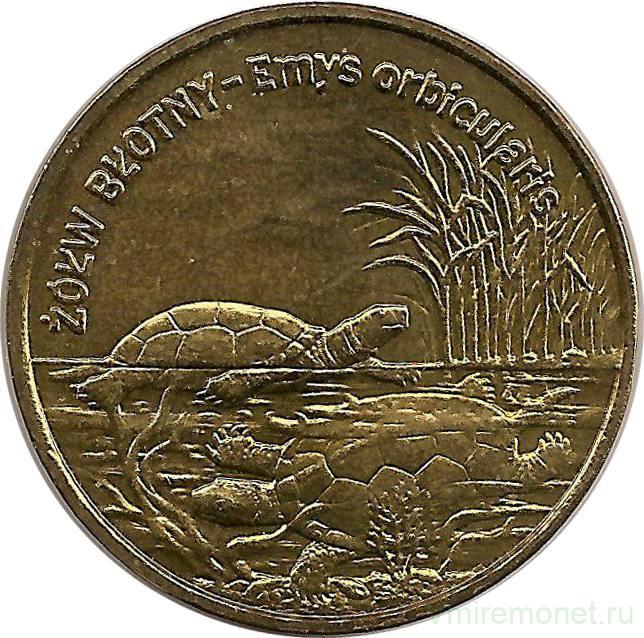 Польша 2 злотых 2002 болотная черепаха серебряные монеты с дыркой цена